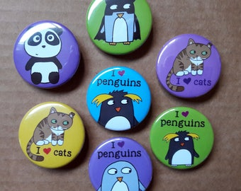 Animal Badges -Save when you buy 3 - penguins - cats - panda