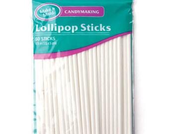 """50 Pc - 4-1/2"""" White Paper Lollipop Sticks 50 Pieces per Package"""