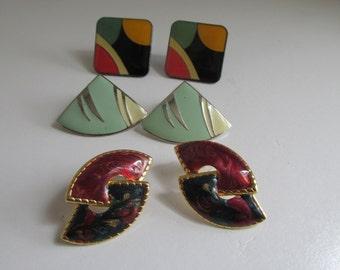 Trio Abstract Earrings 80s Earrings 3 Pr Earrings Studs 80s Enamel earrings Mint Green Earrings Lot of Earrings Post Earrings 1980s Jewelry