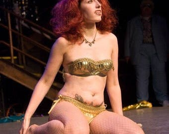Delilah's Second Hand Burlesque Green Gold Lame Covered bra with beaded trim