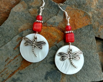Red Dragonfly Shell Earrings, Red Shell Dragonfly Sterling Silver Earrings, Red Dragonfly Sterling Earrings, Red Dragonfly Silver Earrings