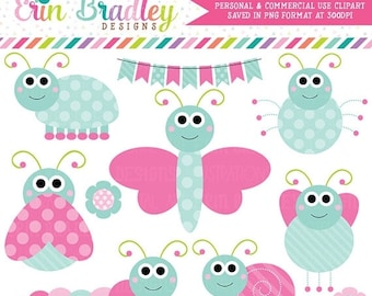 80% OFF SALE Girls Butterfly & Bugs Clipart Animal Graphics with Bunting and Flowers in Pink and Blue