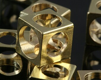 """4 pcs Raw Brass square cube 8 x 8 mm 5/16"""" x 5/16""""  finding square cube rod industrial design (6 mm 1/4"""" hole ) 1611"""
