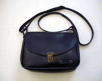dark blue leather with Chevron bag