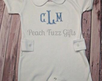 Monogram Romper, Organic Cotton Baby Clothes, Baby Boy Romper, Personalized Romper