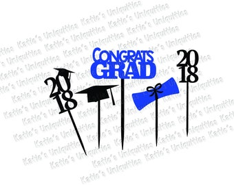 Graduation 2018 Party Grad Decorations Centerpiece Cake Toppers SVG DXF PNG Digital Cut File for use with cutting machines Cricut Silhouette