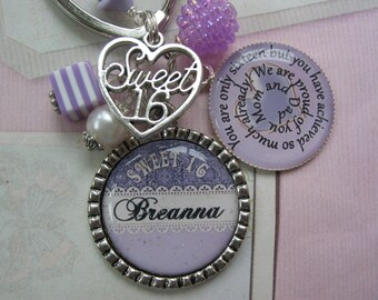 Personalized Sweet 16 keychain Lavender and cream, Sweet16, Sweet 16 Keychain, Sweet 16 Jewelry, 16th Birthday Gift, Sweet sixteen gift