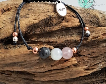 Fertility Bracelet Handmade with Moonstone Rose Quartz and Labradorite, Wish Charm, Jewellery - IVF, TTC, Gift 8mm