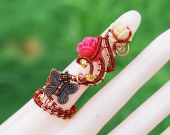 Butterfly Flower Ring Copper Wire Wrap Adjustable Full Finger Ring Artisan Craft