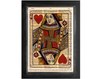 Queen of Hearts Playing Cards - Printed on Vintage Dictionary Paper - 8x10.5