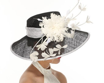Black with White 3 Layers Kentucky Derby Hat, Church Hat, Wedding Hat, Easter Hat, Tea Party Hat Wide Brim Woman's Sinamay Hat