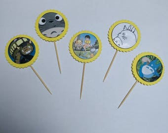 My neighbour Totoro cupcake toppers--Studio Ghibli--Birthday--Party decorations--Cake toppers