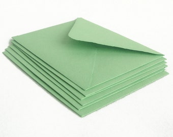 Sage green envelopes, handmade recycled paper, A2 size, set of 10