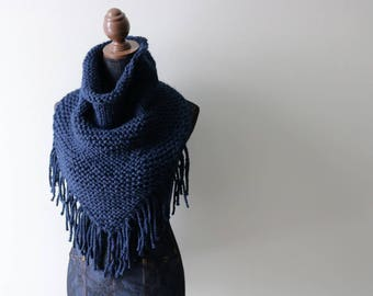Knitted Knit Triangle Scarf, Bandanna Scarf with Fringe. Handmade in Navy Blue, Chunky Wool Yarn