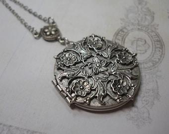 Silver Filigree  LOCKET Rosary Style Connector  Pendant Necklace Keepsake Gift Women's Embossed Metal Floral Locket Ornate Romantic Sterling