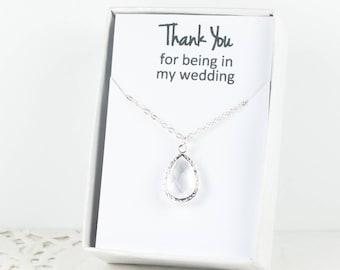 Crystal Clear Silver Teardrop Necklace, Clear Bridesmaid Necklace, Crystal Necklace, Bridesmaid Jewelry, Bridesmaid Gift, Wedding Jewelry