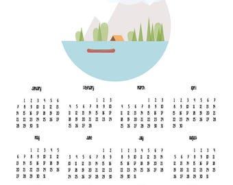 Let's be adventurers - typography poster calendar - digital download