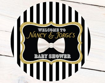 Baby Shower Personalized Favor Sticker - Baby Boy Baby Shower Label - Little Gentleman Personalize Baby Label, Bow Tie Label, Favor Label