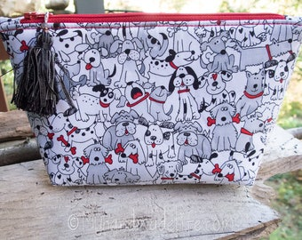 Dogs Cosmetic Bag | Makeup Bag | Lined Bag | Cute Dog Fabric | Cartoon Dog Fabric Makeup Bag | Small Gift Under 20 | Camera Accessory Bag