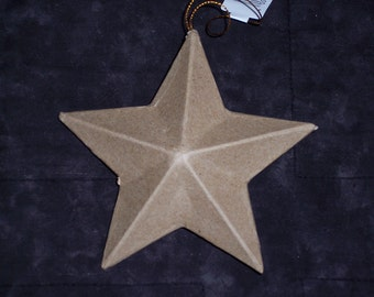 """5 inch paper mache star ornaments,5 """" wide,3-D,5 point stars,ready to paint,finish,embellish,Fourth of July,Christmas,kids craft"""