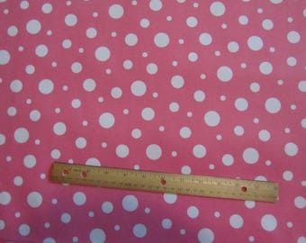 Pink/White Big and Little Polka Dot Flannel Fabric by the Yard