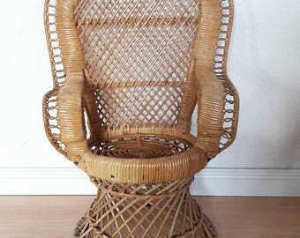 Rattan Peacock Chair for Kids