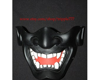 Half cover Hannya Kabuki mask, Airsoft mask, Halloween costume & Cosplay mask, Halloween mask, Steampunk mask, Wall mask, Samurai MA124 et