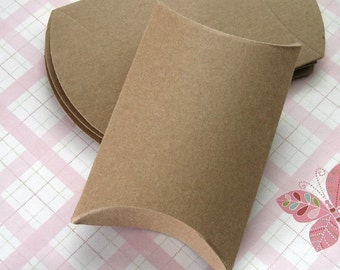 10 Recycled Kraft Pillow Boxes 3.25 x 3 x 1 inches