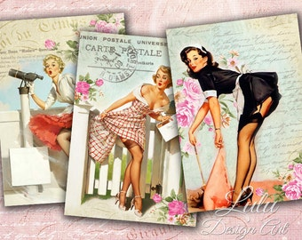 Pin Up Cards - Digital Collage Sheet - Digital Cards - ACEO - ATC - Printable Cards - Pin Up Girls - Scrapbook - Digital Paper - Gift Tags