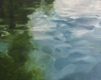 A Stroll in Amsterdam--original oil painting- Amsterdam water art- large water study