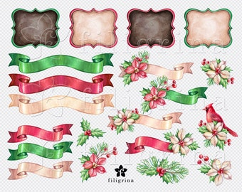 Christmas WATERCOLOR Clip Art. Ribbon tag, banner frame, Flowers, holly berry. Winter holiday noel design. 20 PNG elements. Read about usage