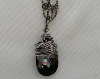 Dark Rainbow Crystal Necklace