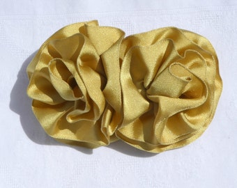 Gold Ribbon Double Bow Barrette / Handmade Ribbon Hair Bow / Gold Ribbon Hair Accessory