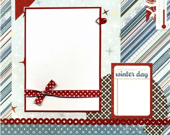 12x12 Premade Scrapbook Page - Remember This Winter Day