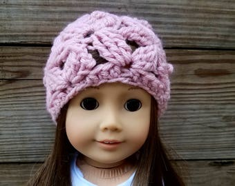 Pink Knit Doll Hat, Fall Doll Hat, 18 inch Doll Beanie, 18 Inch Doll Hat, Crochet Doll Beanie, Doll Clothes, Knit Beanie for Doll, Girl Doll
