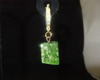 Green Glass & Gold Jeweled Hoop Earrings