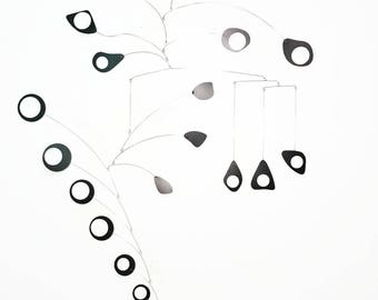 Modern Mobile Mid Century - Large Black Mobile for Entry, Foyer, Stairs, Lobby and More - Holy Moley 1 Style - Calder Inspired