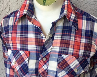 1970s vintage pearl snap long sleeve red blue plaid shirt - size small/XS