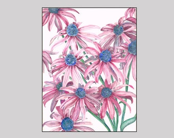 Starburst - Print of Cone Flowers, vibrant with reds and blues