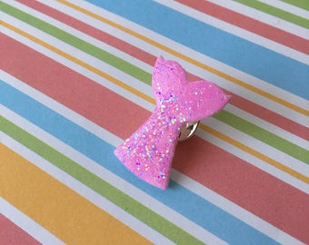 Handmade Pink Mermaid Tail Pin Badge