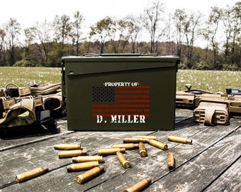Father's Day Gift | Personalized Ammo Box | Personalized Ammo Can | Groomsmen Gift Idea | American Flag | .30 Caliber Ammunition Box | Gift
