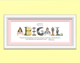 Confirmation Gifts for Girls - Personalized Christian Gifts, 10x20 Christian Name Art with frame; Catholic Confirmation Gift Girl