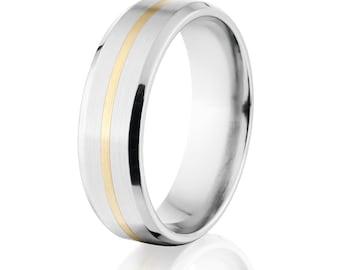 7mm Flat Tapered Edge Cobalt Chrome Ring w/14k solid gold inlay - Premium Cobalt Wedding Band Cobalt Ring : COB-7FT11G-B-Gold-Inlay