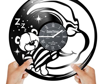 NURSERY CLOCK GIRLS Vinyl Record Wall Clock Black Teddy Bear Clock With Bears Decor Clocks Baby Nursery Moon Wall Clock For Kids Room Gift