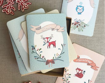 Christmas Cards Boxed Set - Assorted Cards - Cute Christmas Cards - Woodland Creatures - Holiday Card set - Xmas Card Set