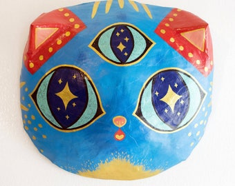 Third Eye Primary Color Tabby Cat paper mache mask decor