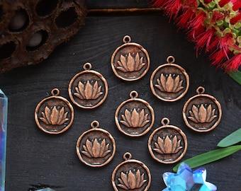 Antique Copper Lotus Charm, 20x24mm, 1pcs / Nunn Designs, Lotus Pendants, Meditation Charms, Intentional Jewelry, Jewelry Making Supplies