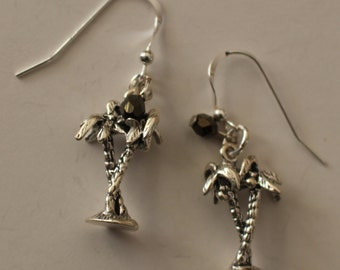 Sterling Silver PALM TREE with COCONUT Earrings  - 3-dimensional