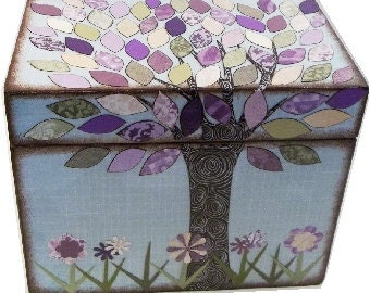 Recipe Box, Lavender Purple, Cream and Green Tree Wedding Shower Box, Kitchen Storage, Organization Holds 4x6 Recipe Cards  MADE To ORDER