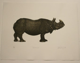 Rhinoceros - Etching and Aquatint by D.R. Wakefield from private press book Going Going Going